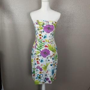 David Meister Strapless Floral Sheath Dress